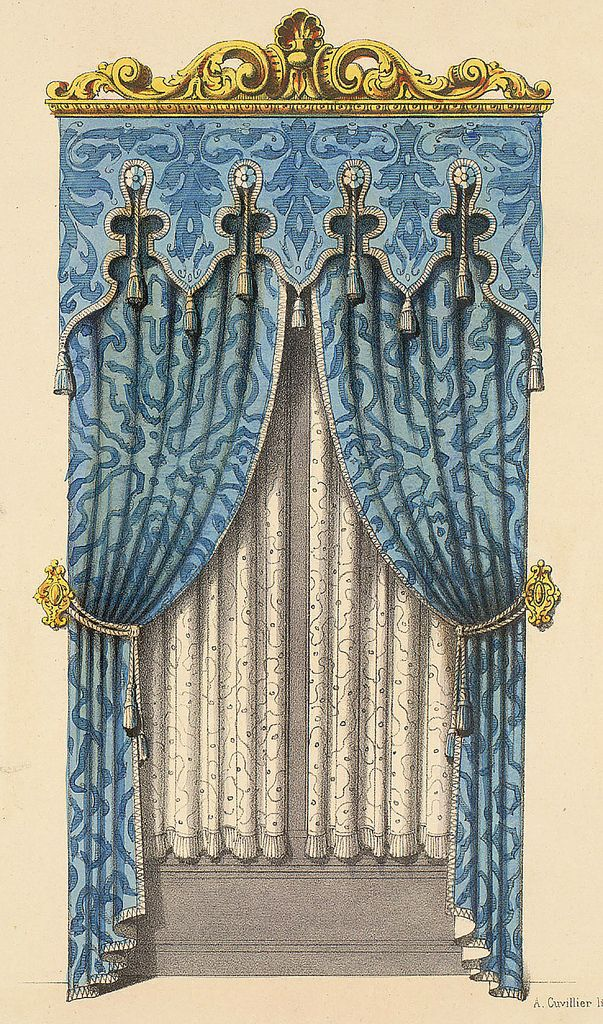 All sizes | Rococco Style Decor | Flickr - Photo Sharing! ~ Two blue curtain panels, tiebacks, and valance topped by scroll work in gold. Lace panels underneath.
