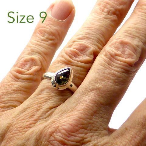 Moldavite Ring Faceted Teardrop | 925 Sterling Silver | Checkerboard cut face, raw below | US Size 9 | Moldau Valley | Tektite | Crystal Heart Australia since 1986\