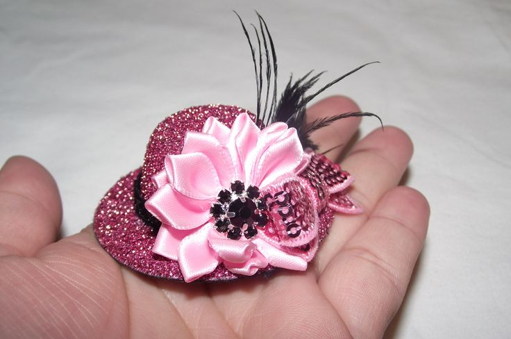 mini valentine's hat..can be added to a clip or a headband.... https://www.facebook.com/SatinWireAndLace