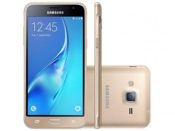 """Smartphone Samsung J3 2016 8GB Dourado Dual Chip - 4G Câm. 8MP + Selfie 5MP Tela 5"""" HD Proc Quad Core"""