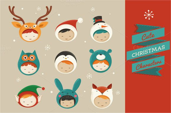 Cute Christmas Characters icons by Marish on @creativemarket