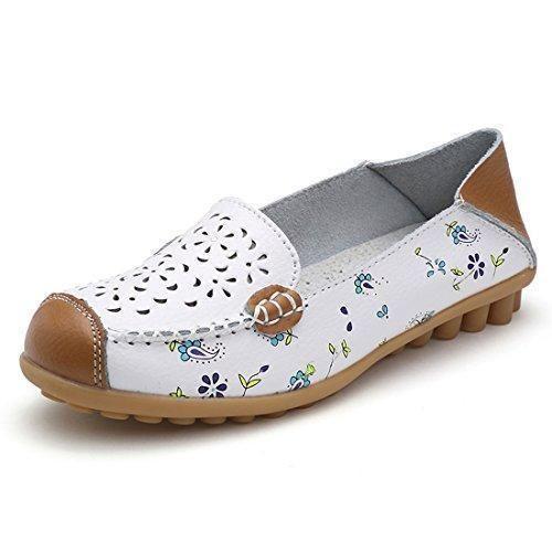 Oferta: 19.99€. Comprar Ofertas de Z.SUO Mujer Mocasines de cuero Moda Loafers Casual Zapatos de conducción Zapatillas(35 EU,Blanco) barato. ¡Mira las ofertas!