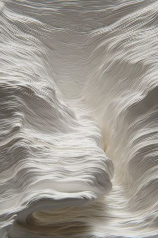 Noriko Ambe ~ Topographic Paper Landscapes (single sheets of paper, cut free-hand and stacked together)