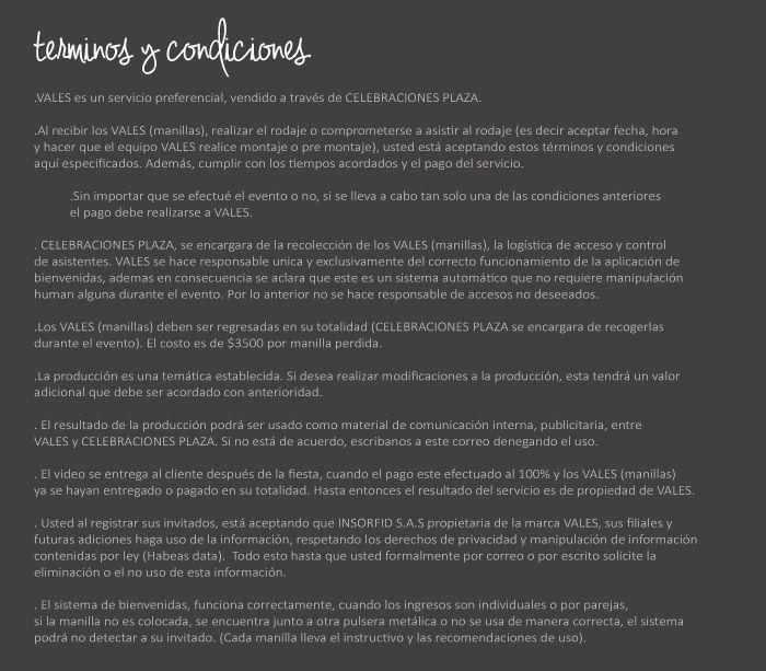 Cuadro de términos y condiciones para clientes al tomar un servicio VALES
