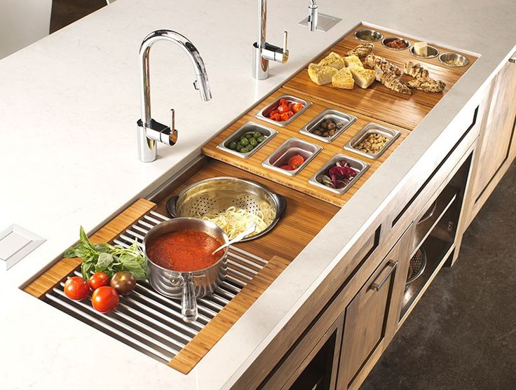 The ultimate prep kitchen- the Galley Sink Workstation 7 has everything yo need to make food preparation and serving a delight.