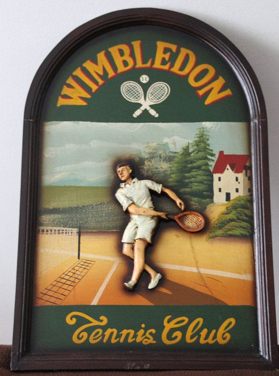 Tennis wall decor, Tennis sign, Tennis signboard, Wimbledon Tennis Club, Tennis gift, Tennis signboard, Pub Bar Decor Design, Advertisement by VintageFrenchFrance on Etsy