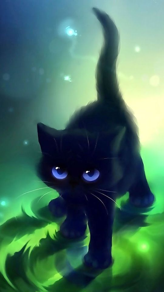 Wallpapers Kittens With Wings Animals Other Black Cat Blue Eyes
