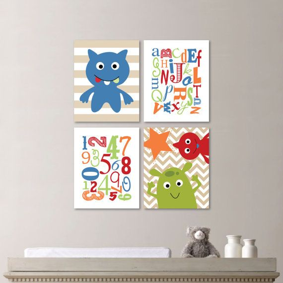 Baby Boy Nursery Print Art Monster Nursery by RhondavousDesigns2
