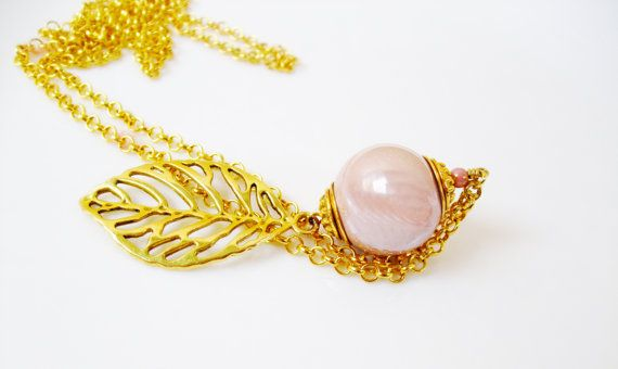 Gold leaf long pendant necklace / Gold long pendant by DreamyBox