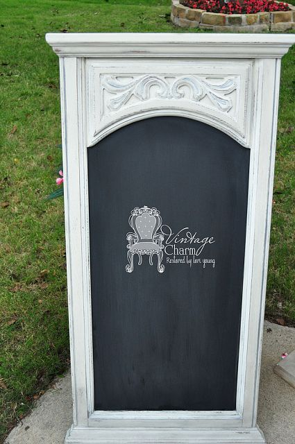 Old Mirror turned chalkboard!! ASCP Old White with a little silver rub n buff to some of the details!!