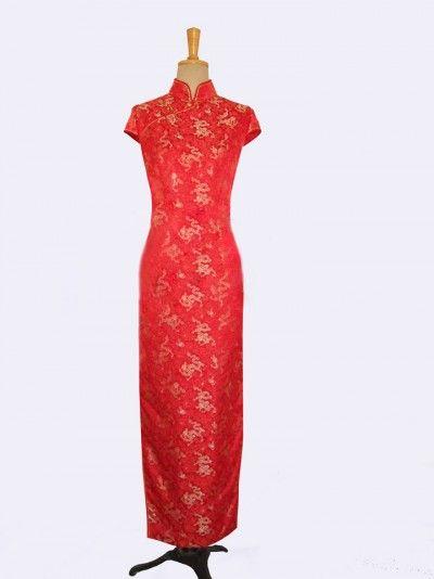 Red with golden dragon silk brocade cheongsam dress SCT223