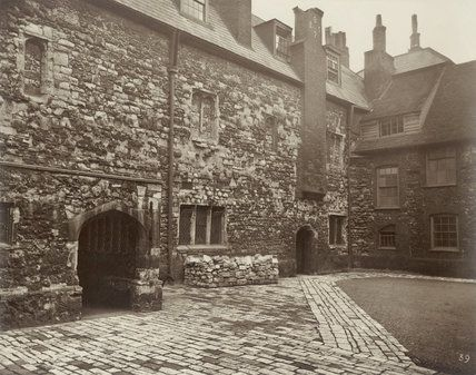 Charterhouse, Wash House Court, 1880. This photograph was commissioned by the Society for Photographing Relics of Old London to form part of a permanent visual record of historic buildings threatened with alteration or possible demolition in the 1870s and 80s. Charterhouse, near Smithfield, was built in the mid-16th century on the site of a former Carthusian priory which was dissolved in 1537. In the early 17th century it became an almshouse and school and it continues today as a retirement…