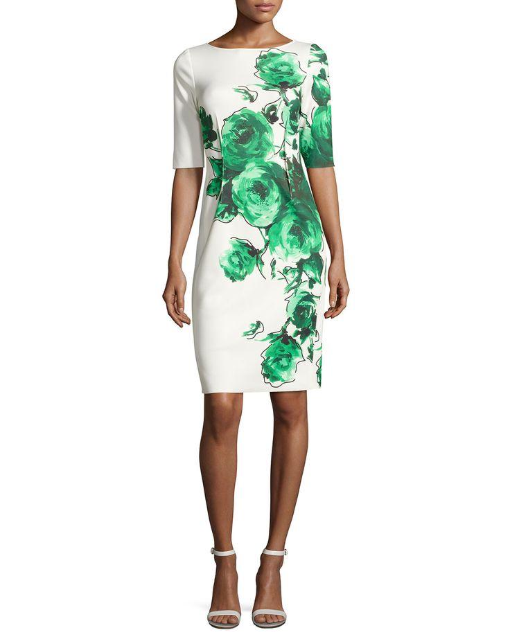 Rickie Freeman for Teri Jon Floral Scuba Cocktail Dress