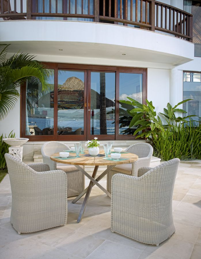 """Nautic Teak round table with chairs-available in rectangular 79"""" table also"""