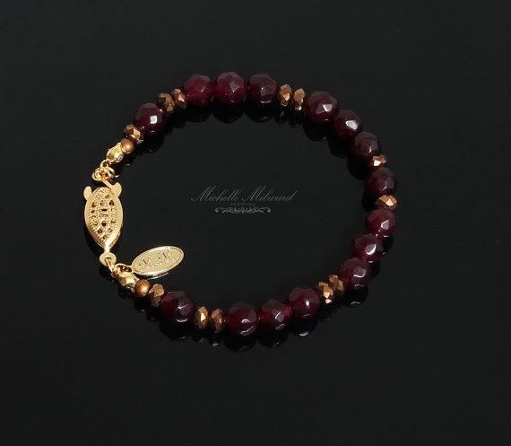 Goldplated bracelet Garnet Gemstone Bracelet by MichelleMilward, $30.25