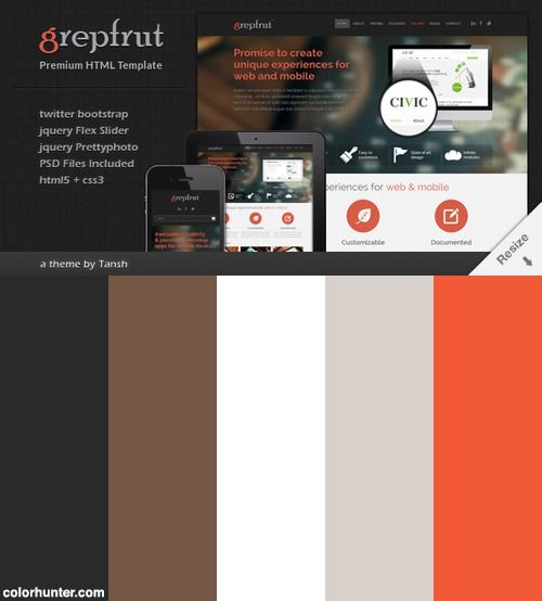 Grepfrut Responsive Html Template Color Scheme