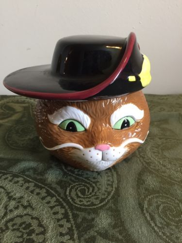 "6"" x 6"" ""Puss In Boots"" Ceramic Cookie Candy Jar Galerie Dreamworks Shrek Cat"