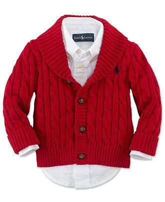 Ralph Lauren Baby Sweater, Baby Boys Shawl Collar Cable Knit Cardigan - Kids Ralph Lauren Baby Gift Shop - Macy's