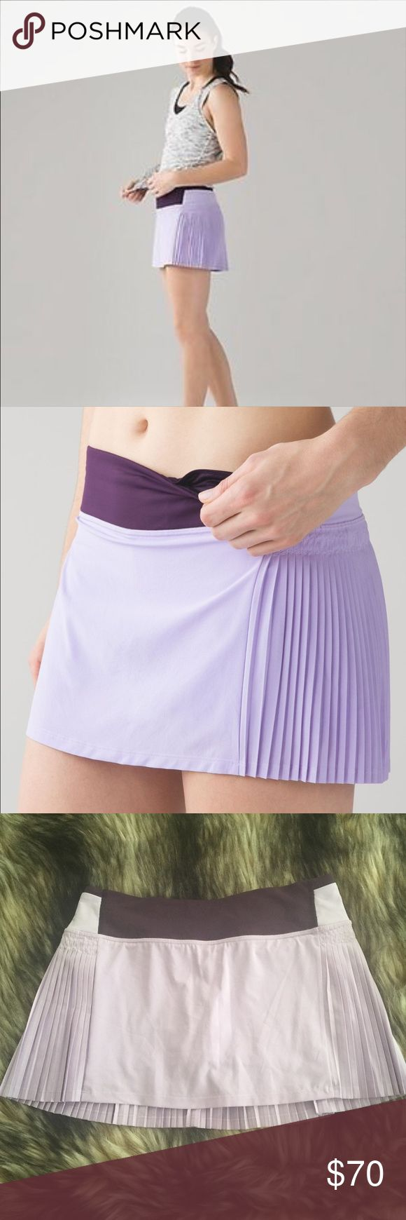 "LULULEMON Time to Shine Pleat Tennis Run Skirt 4 Lululemon Time to Shine pleated skirt/skort in Lilac and Deep Zinfandel. An update to the Pleat to Street skirt. Swift Ultra fabric is sweat-wicking and four-way stretch. Luxtreme fabric liner with added LYCRA fits like a second skin. Low friction performance. Plenty of pockets for your essentials- 2 at waistband and 2 on leg of shorts. 3.5"" inseam on liner. Hugged sensation. Designed for run. Size 4. Mint condition. No trades please 💕…"