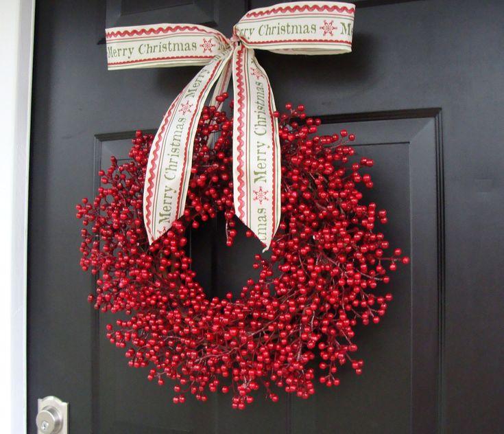 Red Berry Wreath, Christmas Decor, Christmas Wreath, Door Wreaths, Cranberry Wedding Decor, Winter Wreath, Merry Christmas, Custom Bow. $80.00, via Etsy.