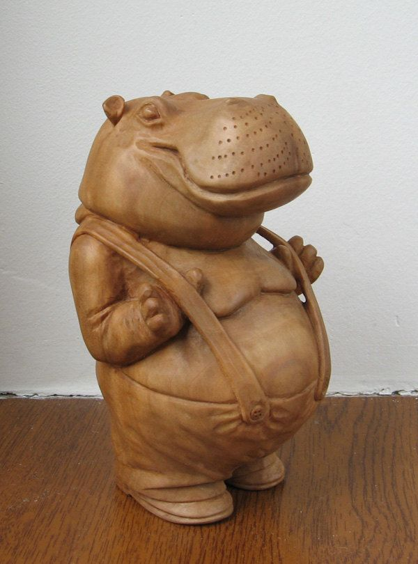 Hippo with suspenders - Wooden figurine, hand carving by WoodSculptureLodge on Etsy