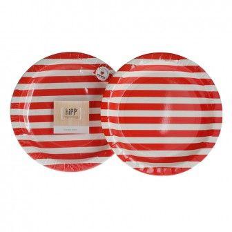 RED STRIPE Hipp Plates 23cm 12 pack for $6-95