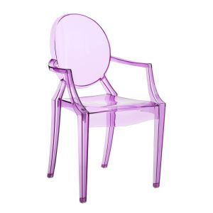 Louis Ghost Green Armchair by Philippe Starck in crystal clear, heavy white, heavy black, transparent black, transparent red, transparent amber, transparent green and transparent mauve color.