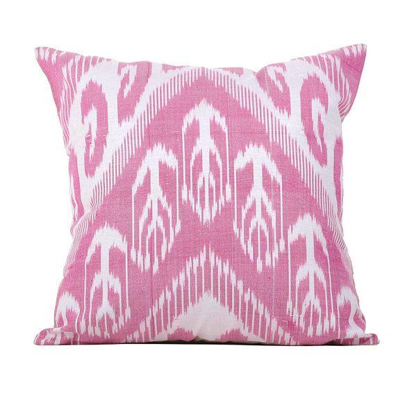 Bright, beautiful pink Uzbek silk ikat pillow cover  • Hand-dyed and hand-woven silk ikat fabric • Pure cotton cushion back • Hidden zipper •