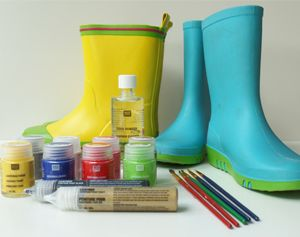Leerverfpakket voor het decoreren van kaplaarsjes, schoenen, tassen en riemen. Simpel te maken & prachtig resultaat! #DIY-pakket