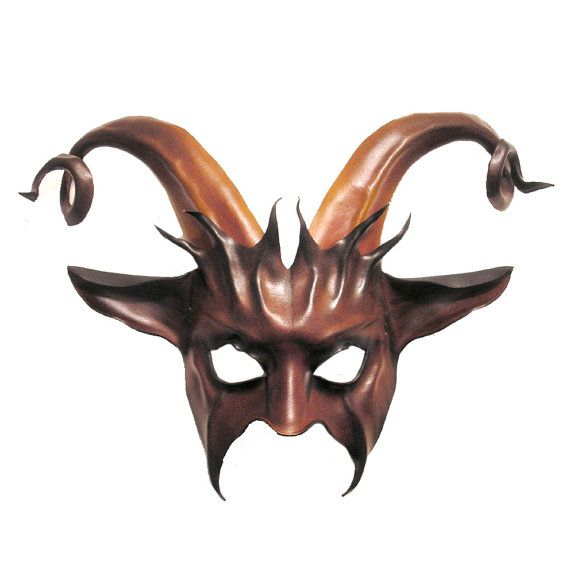 Leather Goat Mask with Curled Horns krampus baphomet by teonova