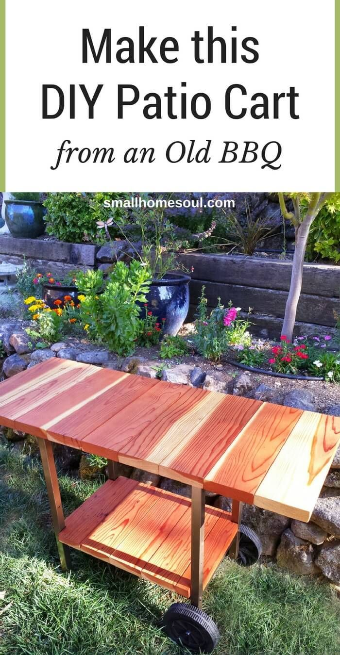 Make a patio cart from an old BBQ for a perfect upcycle project.  Great as a beverage station too!