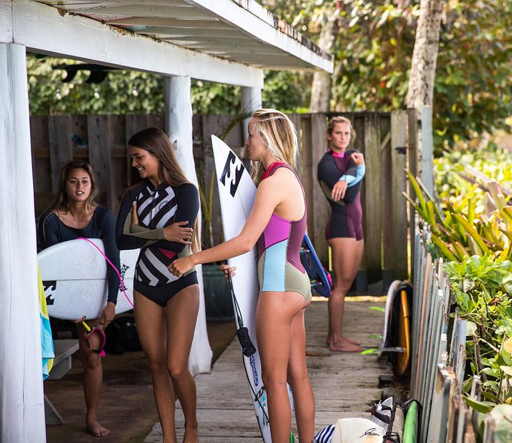 Our Billabong Girl Gang out for a surf in Hawaii