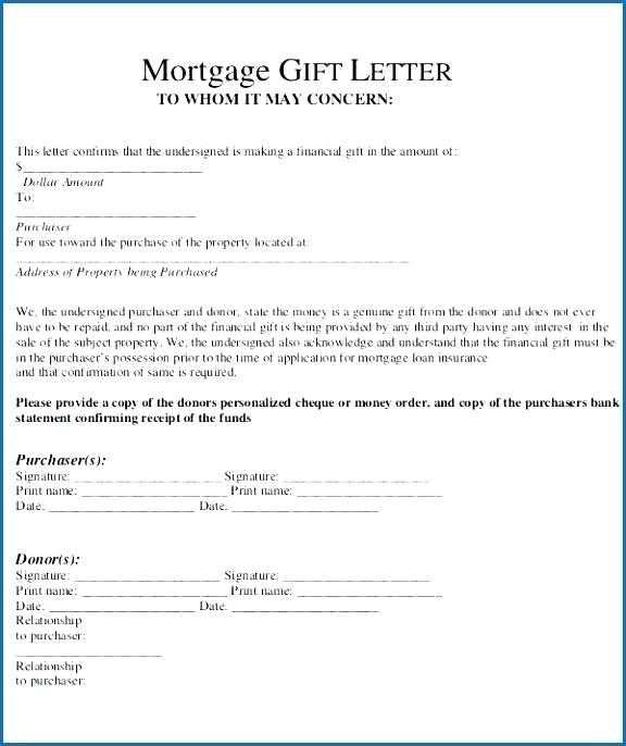 Gift Letter For Mortgage Letter Gifts Letter Template Word Letter Templates