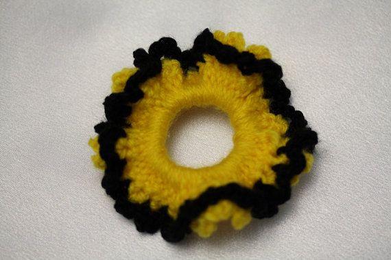 Bee girl scrunchie Hair tie Crochet tie by AtelierGarofita on Etsy