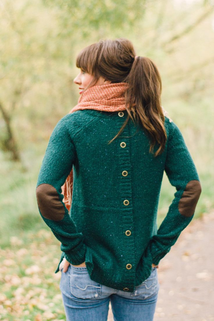 Button back, elbow patch sweater