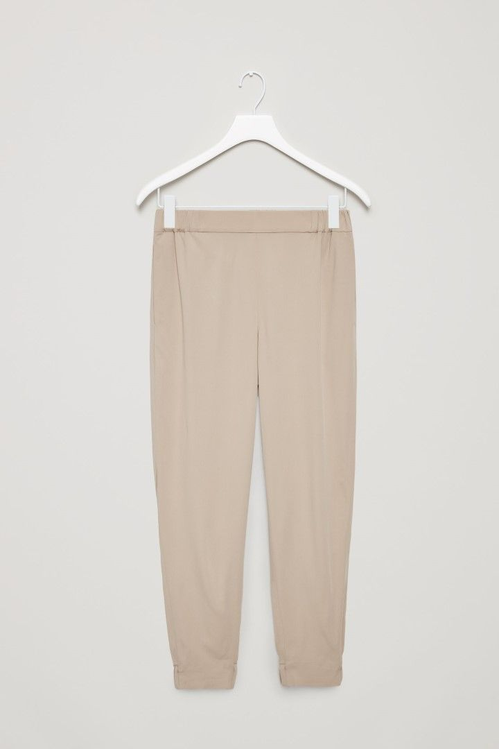 COS image 2 of Elastic waist and cuff trousers in Cocoa