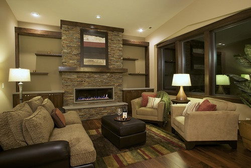 Fireplace floating shelves design pictures remodel - Family pictures on living room wall ...