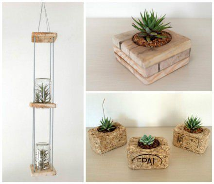 Small Flower Pots Made From Upcycled Pallets