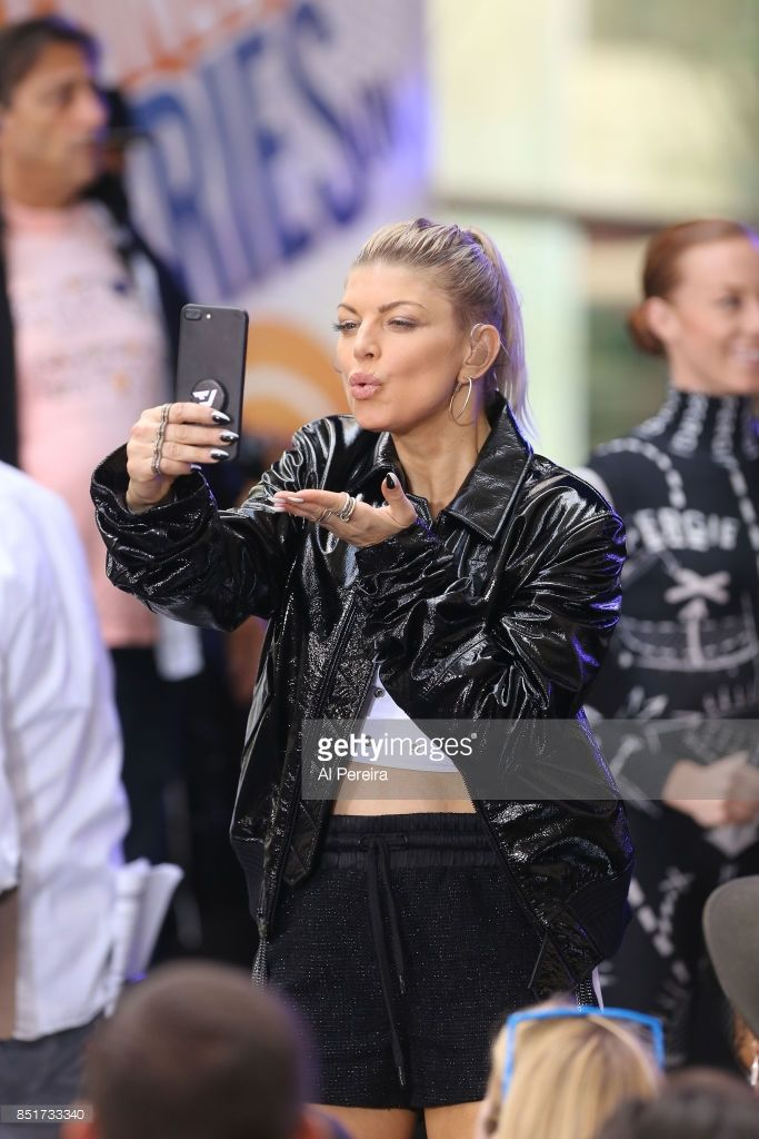 Fergie takes a selfie when she performs on NBC's 'Today' Show at Rockefeller Plaza on September 22, 2017 in New York City.