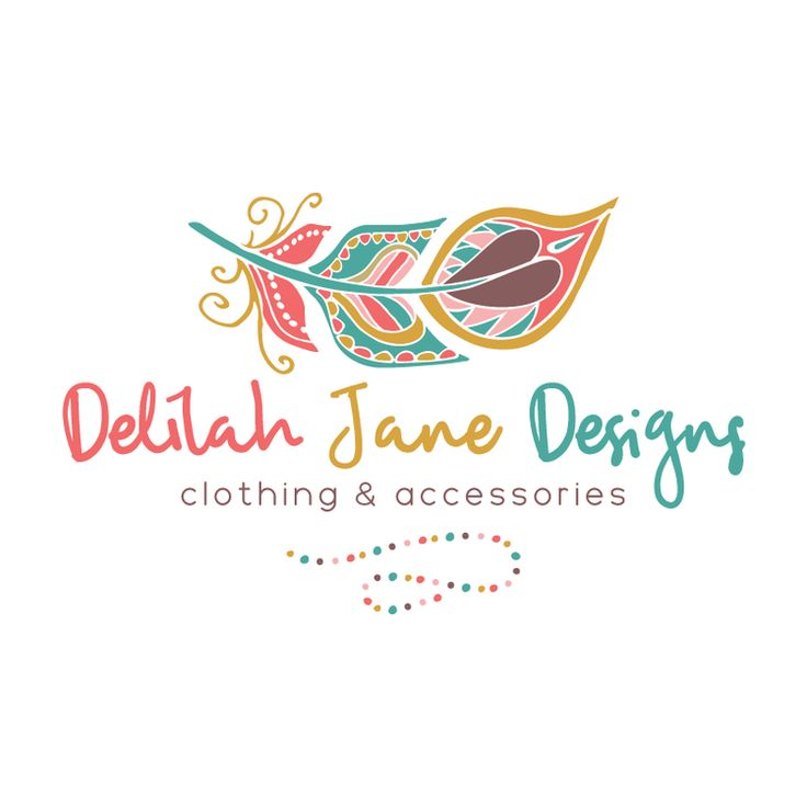 Boho Feather Premade Logo Design - Customized with Your Business Name!