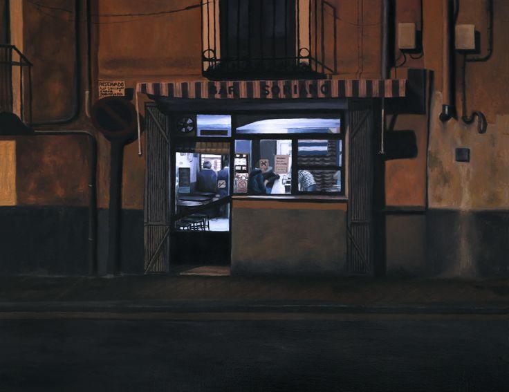 """""""Bar Soriano, Cuenca"""". Óleo sobre tabla. 46x38 cm."""