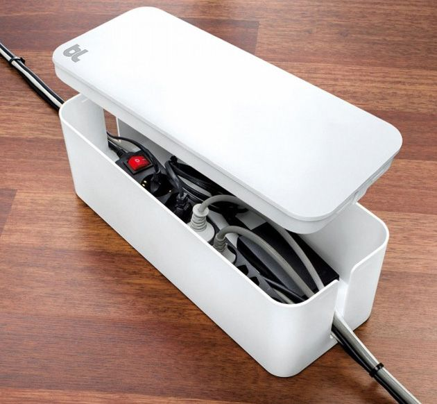 Bluelounge Cablebox - Simply place your untidy looking power strips or surge protectors inside the BlueLounge CableBox, shut the lid and marvel as your workspace is instantly transformed from a tangled mess to a clean, streamlined area.