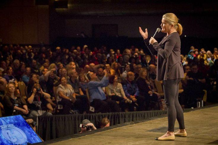 Kate Mulgrew aka Captain Kathryn Janeway speaks at Star Trek Las Vegas, August 2017.