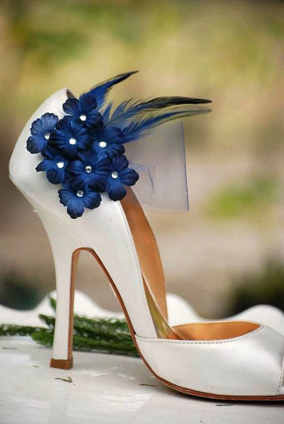 Wedding Shoe Clips Navy Midnight Blue Flowers Bridal Bride Dark Marine Silver Or Gold Glitter Pearls Center Tulle Maritime Nautical Clothes Style