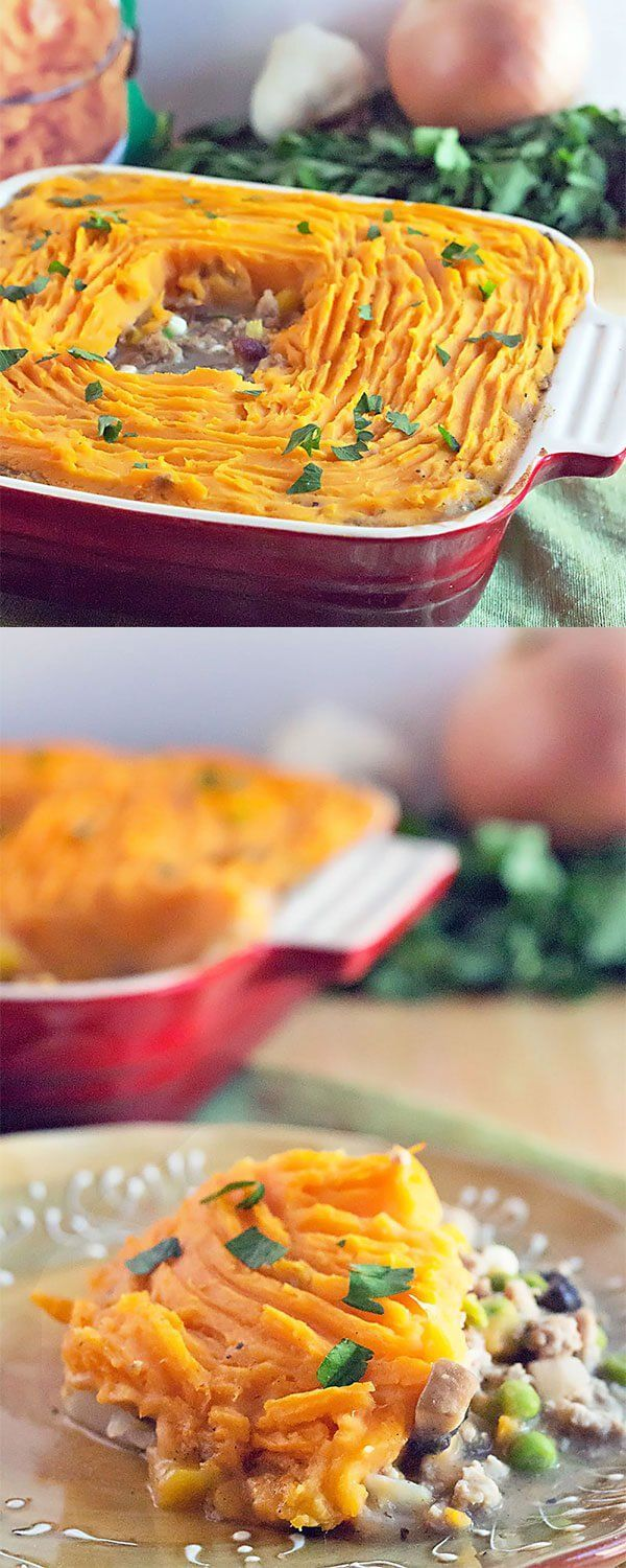 Sweet Potato Shepherds Pie Casserole - ground turkey and fresh vegetables cooked in gravy, topped with mashed sweet potatoes. This easy shepherd's pie recipe is a 30 minute WEIGHT WATCHERS FRIENDLY casserole.. Perfect as a St. Patrick's Day dinner recipe and great use for Thanksgiving leftovers! #casserole #recipe #StPatricksDay #Thanksgiving #weightwatchers #freestyle #smartpoints