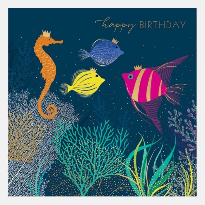 Happy Birthday Tropical Fish Card Birthday Greeting Cards Happy Birthday Fishing Birthday Greetings