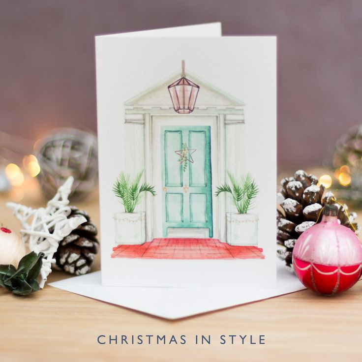 Hand Painted Christmas Card | Watercolour Christmas Card | Christmas in Style | California Christmas | Turquoise | Copper | Millennial Pink