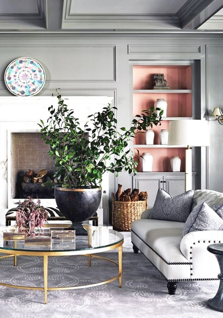 Pretty pink alcoves in a grey room || A pop of something unexpected – FIRST SENSE