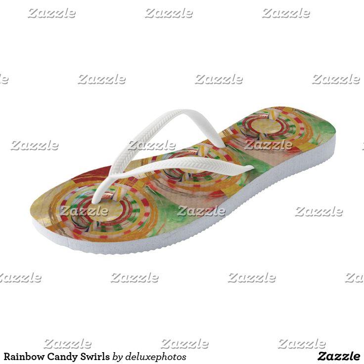 Rainbow Candy Swirls Flip Flops