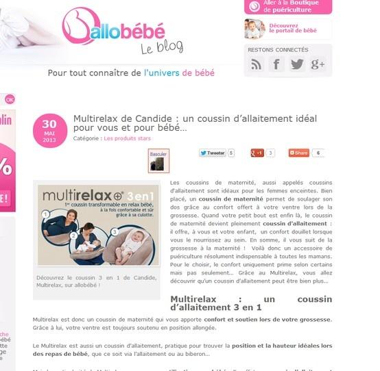 Tentez de gagner un Multirelax sur le blog d'allobébé  Par ici => http://blog.allobebe.fr/coussin-allaitement-multirelax/  Tirage au sort le 3 Juin 2013